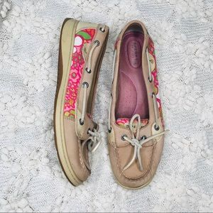 Sperry top-sider tan and pink floral detail 9.5